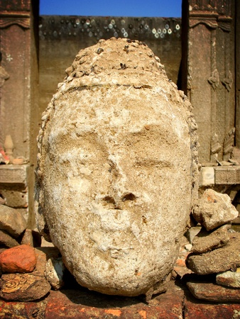 erode: Face of Buddha erode Stock Photo