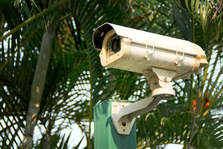 closed circuit television: CCTV outdoor security video camera Stock Photo