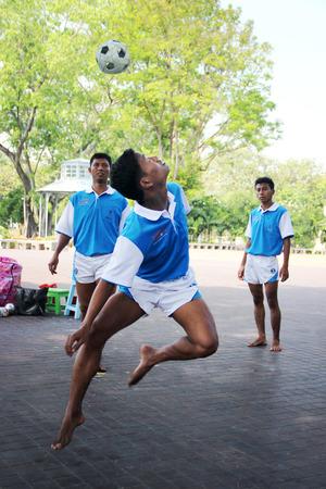 showed: Chinlone team from Myanmar showed at Saranromya Palace, thailand on December 2013