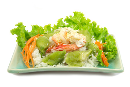 lactuca: Steamed rice with zucchini carrot and  shrimp fried on white background Stock Photo