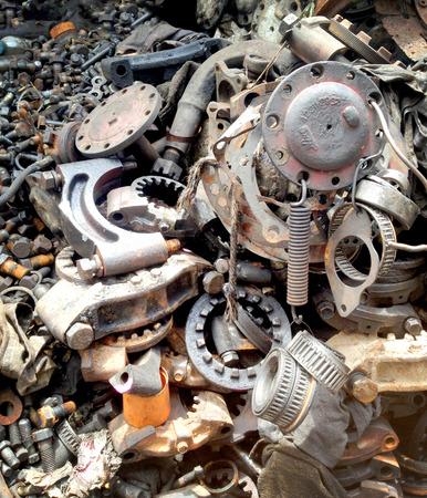 scrap iron: Scrap iron pile, remnant of iron texture