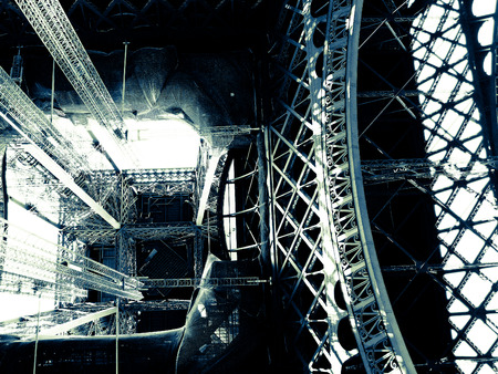 two tone: Eiffel tower inside construction in two tone effect