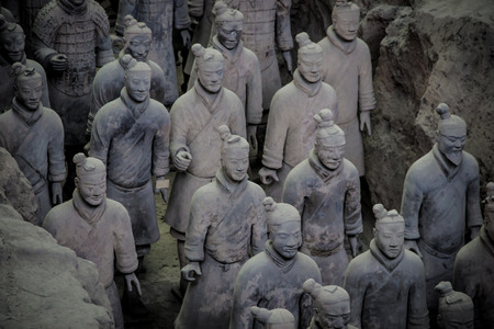 terra cotta: CHINA, XIAN - MARCH 14: Ping Ma Yong, Terra cotta army on 14 March 2016 in Xian, China. Unesco world heritage site. Soldier  funerary statues