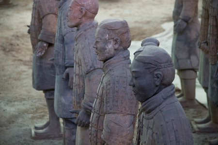 terra cotta: CHINA, XIAN - MARCH 14: Ping Ma Yong, Terra cotta army on 14 March 2016 in Xian, China. Unesco world heritage site. Soldier  funerary statues.