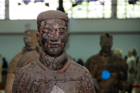 funerary: CHINA, XIAN - MARCH 14: Ping Ma Yong, Terra cotta army on 14 March 2016 in Xian, China. Unesco world heritage site. Soldier  funerary statues
