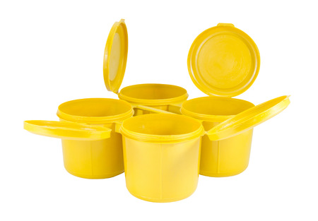 contiguous: Yellow plastic joint boxs set on white background