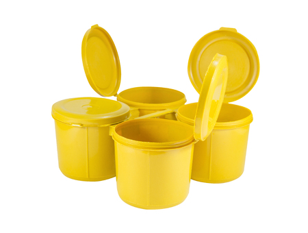 homeware: Yellow plastic joint boxs set on white background