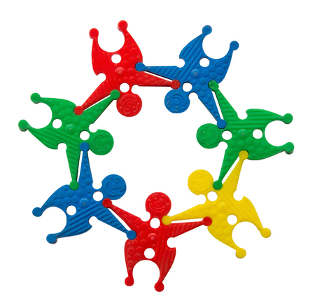 Toy group people in a circle, in cooperation concept Stock Photo