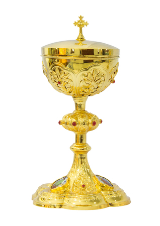 liturgical: Gold chalice Eucharist on white background Stock Photo