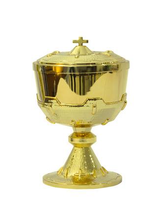 chalice: Gold chalice Eucharist on white background Stock Photo