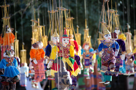 Myanmar tradition puppet dolls are hanging