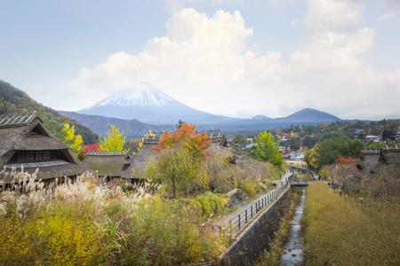 Fuji Mountain from Saiko Iyashi no Sato Nenba village, Japan