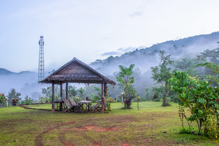 Pavilion, mountain with telecom pole background Stock Photo