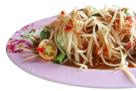 papaya flower: Pickled fish papaya Salad, Som tum, Thai food in pink plate close up on white background