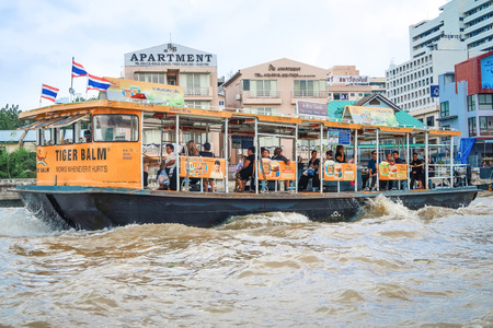 both sides: BANGKOK, THAILAND-30 June 2017, Boat, transportation service on both sides of the Chao Phraya river on June 30, 2017 in BANGKOK THAILAND.