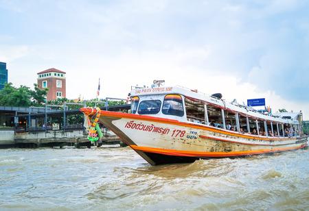 BANGKOK, THAILAND-30 June 2017, Express Boat, transportation service in Chao Phraya river Bangkok, Thailand on cloudy day
