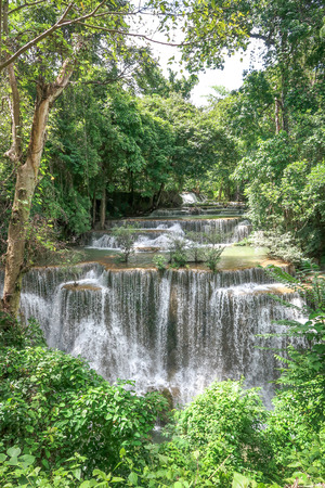 Huay Mae khamin waterfall in National Park Srinakarin dam, Kanchanaburi, western of Thailand Stock Photo