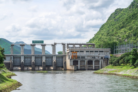 hydroelectricity: Tha Thung Na Dam,  hydroelectric dam in Kanchanaburi, Thailand on cloudy day