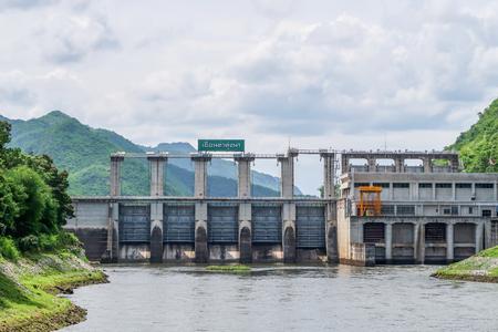 kanchanaburi: Tha Thung Na Dam,  hydroelectric dam in Kanchanaburi, Thailand on cloudy day