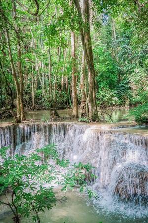 khamin: Huay Mae khamin waterfall in National Park Srinakarin dam, Kanchanaburi, western of Thailand Editorial
