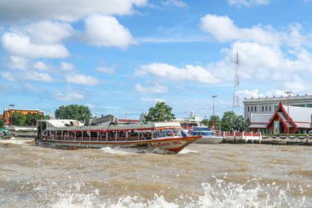 BANGKOK, THAILAND-7 July 2017, Express Boat, transportation service in Chao Phraya river Bangkok, Thailand on cloudy day