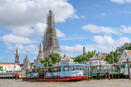 BANGKOK, THAILAND-7 July 2017, Boat, transportation service on both sides of the Chao Phraya river, Wat Arun pier on July 7, 2017 in BANGKOK THAILAND.