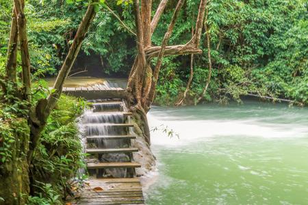 khamin: Wood stir at Huay Mae khamin waterfall in National Park Srinakarin dam, Kanchanaburi, western of Thailand