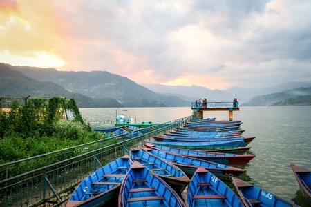 phewa: Boats at the view point pier, Lake Phewa, Pokhara, Nepal