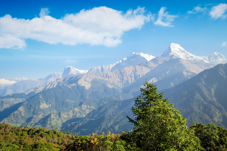 Himalayas mountain range with snow, Pokhara, Nepal Stock Photo