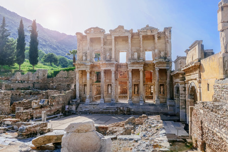 Celsus Library, Ephesus, Turkey, Stock Photo
