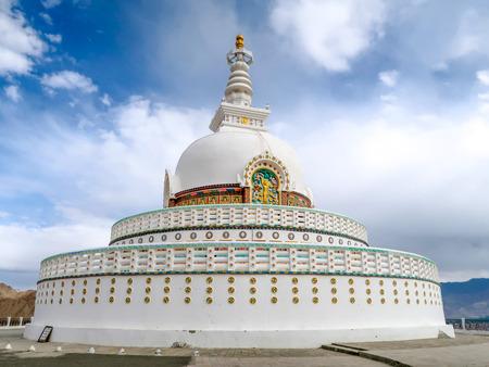 Shanti stupa in Leh Ladakh, Jammu and Kashmir, India on cloudy day Editorial
