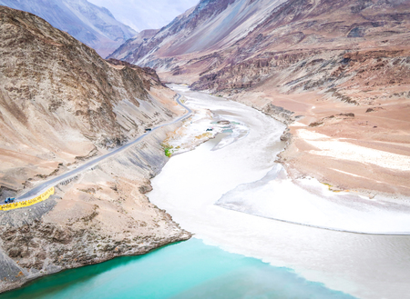 Two rivers are confluence at Zanskar Rivers, Ladakh - Jammu and Kashmir - India Stock Photo