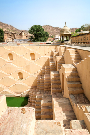 Panna Meena ka Kund step-well of Jaipur, Rajasthan, India 免版税图像