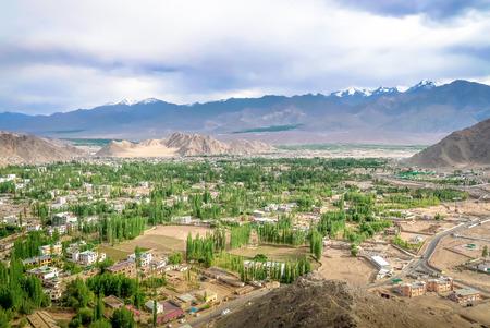 View of leh town from Shanti stupa in Leh Ladakh, Jammu and Kashmir, India.