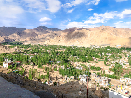 View of leh town from Shanti stupa in Leh Ladakh, Jammu and Kashmir, India.