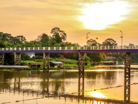 The bridge croos Sakae krang river in the morning