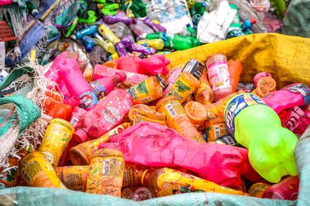27 NOVEMBER 2018, PRACHINBURI, THAILAND: Heap of  plastic beverage bottles ready to be recycled