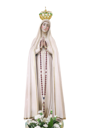 Our lady Fatima statue on white background