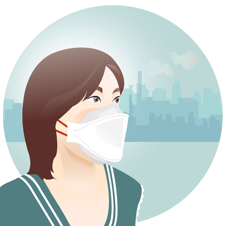 Asia woman wearing mask to protect air pollution in the city  イラスト・ベクター素材