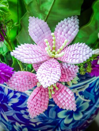 Beautiful pink artificial flowers