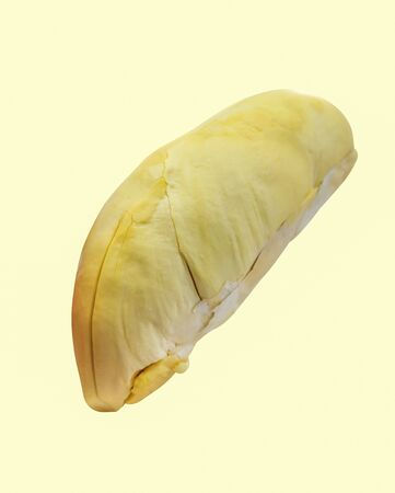 Durian, King of fruits in thailand on yellow background with clipping path