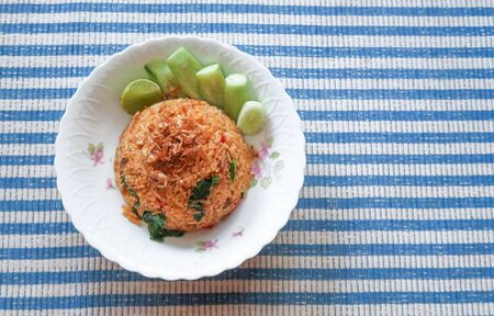 Tom yum fried rice, Thai food on top view