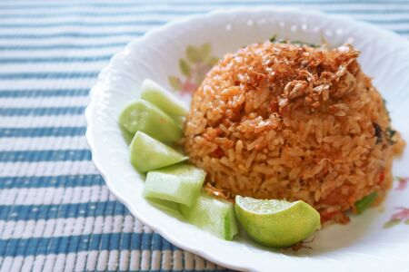 Tom yum fried rice, Thai food closeup