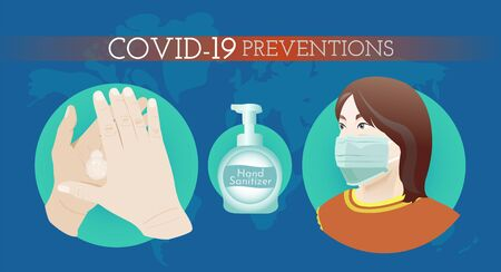 COVID-19 or Coronavirus prevention by washing your hand and wearing a face mask