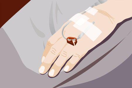 Patient's hand in the hospital with saline intravenous (iv) drip Ilustración de vector