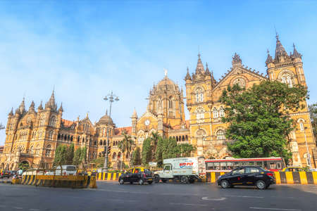 MUMBAI, INDIA - February 29 2020: Chhatrapati Shivaji Terminus railway station or CSTM or CTS, UNESCO world heritage site landmark in Mumbai, India