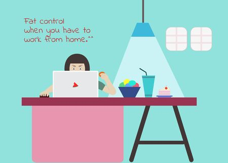 Woman eating snacks while sitting to work at home. Besides, there are coffee desserts cakes under concept quarantine for Coronavirus or Covid-19 at home but must control fat, flat vector illustration Иллюстрация