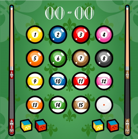 A variety of billiards on the wallpaper