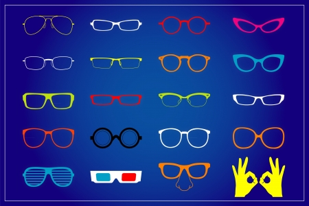 A variety of glasses on the wallpaper Illustration