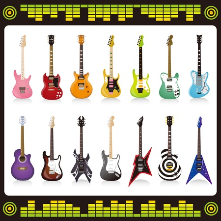 interesting music: Many color and shape guitar